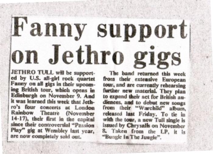 Fanny Support Jethro Tull II