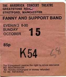 Fanny Supported by Thin Lizzy