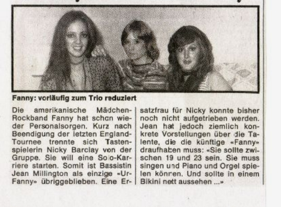Fanny: Vorläufigzum Trio reduziert (Fanny Temporarily Reduced to a Trio)