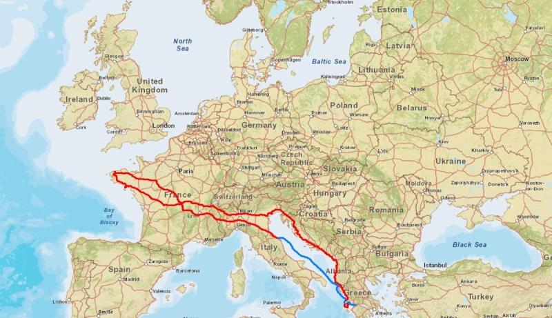 D° la Grèce (par l'Italie, Slovénie, Croatie, Monténégro, Albanie)