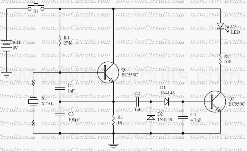 Circuito Oscilador : Teste de cristal oscilador