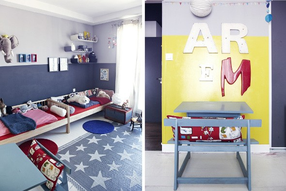 vaalneexs chambre enfant bleu et rouge. Black Bedroom Furniture Sets. Home Design Ideas