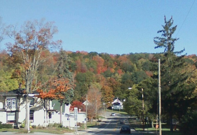 Approaching a hill in New York with fall in full swing