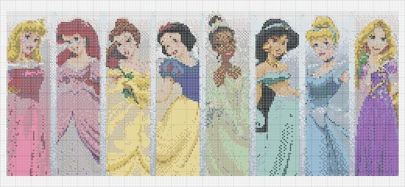 Princesses disney - Grille gratuite point de croix disney ...
