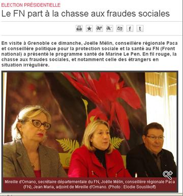 Joelle Mélin et le FN à la chasse aux fraudes sociales