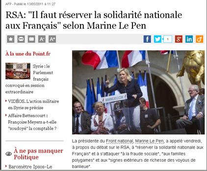 """Marine Le Pen veut """"réserver la solidarité nationale aux français"""""""