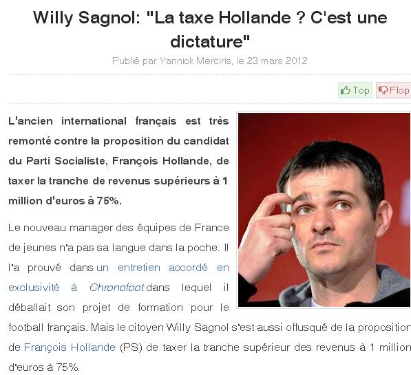 Willy Sagnol trouve qu'une taxe est une dictature...